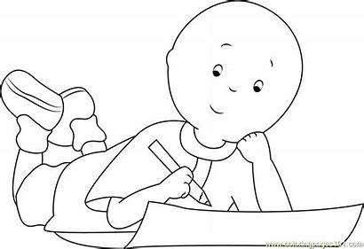 Homework Coloring Doing Caillou Pages Cartoon Coloringpages101