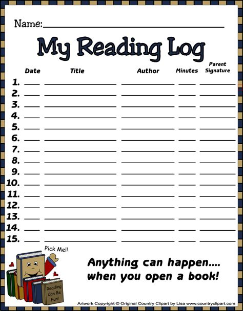printable reading log for elementary student read write reading logs and