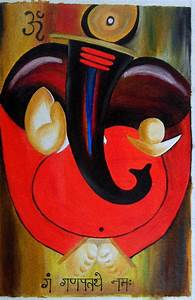 Abstract Ganesh Paintnig Painting by Kavitha Unachigi