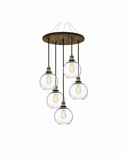 Chandelier Wood Round Glass Globe Antique Shades