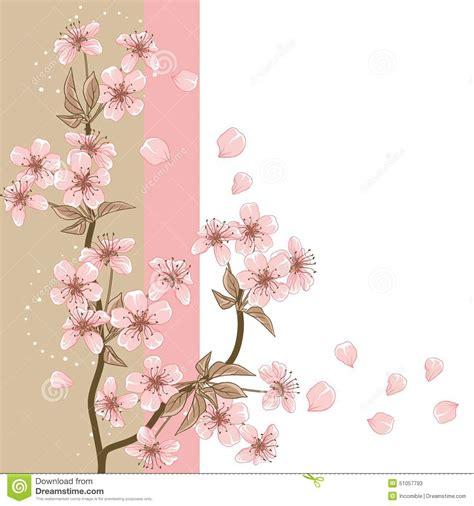 foto de Cartão Com A Flor De Cerejeira Estilizado Do Vetor
