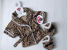 Teddy Bear Clothes Leopard Robe & Slippers
