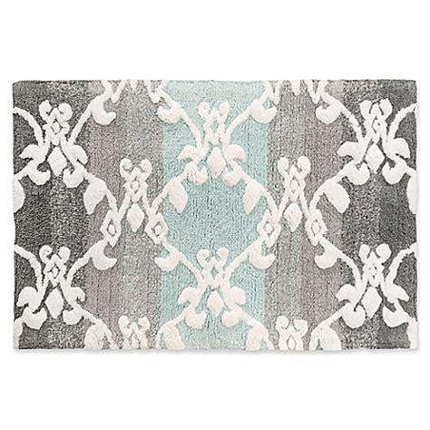 watercolor damask      bath rug  aquagrey