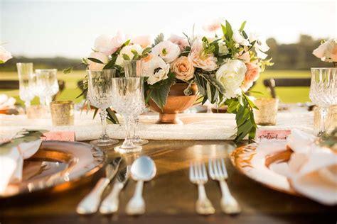 Wedding Decor: Rustic Farm Table Dining & Metallic Accents