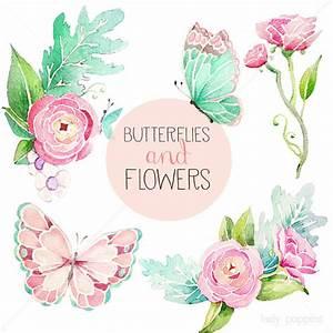 Pink Flowers And Butterflies Clipart | www.pixshark.com ...