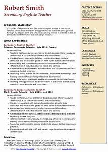 Samples Of Skills And Abilities For Resume Secondary English Teacher Resume Samples Qwikresume