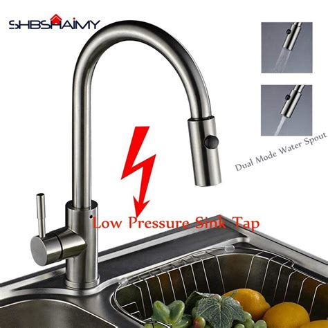 mixer kitchen sink tap pressure low spray spring nickle brushed rotatable