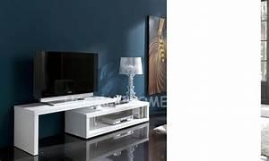 Meuble Tv Design Blanc Laqué : meuble tv design laqu blanc extensible ofelia ~ Teatrodelosmanantiales.com Idées de Décoration