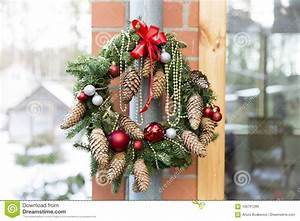 Christmas, Door, Wreath, With, Pines, And, Christmas, Decorations, Stock, Image