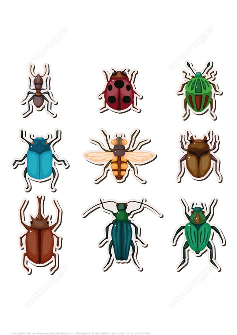 insects printable stickers  printable papercraft