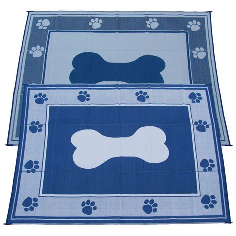 fireside patio mats blue 9 ft x 12 ft polypropylene indoor outdoor reversible patio rv