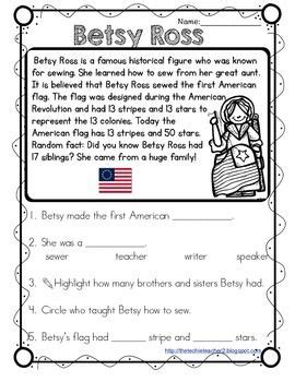 Betsy Ross Reading Passage  Reading Passages, Comprehension Questions And Social Studies