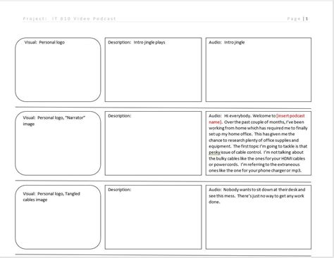 podcast template project 3 storyboard it810 multimedia design