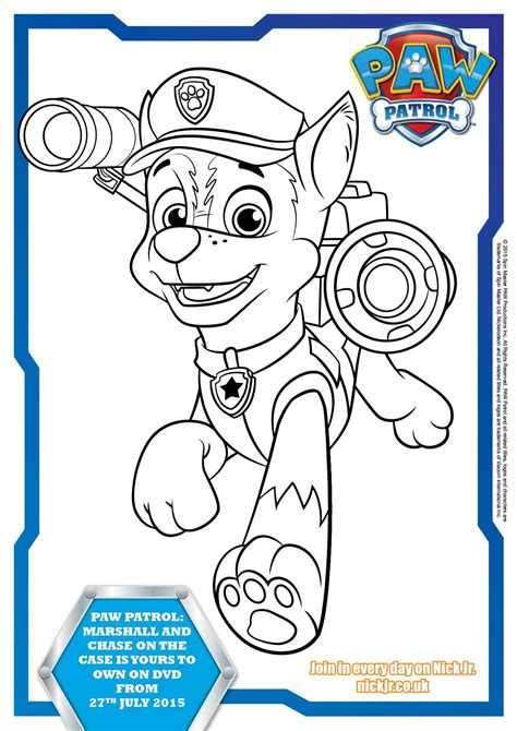 Paw Patrol Colouring Pages and Activity Sheets In The