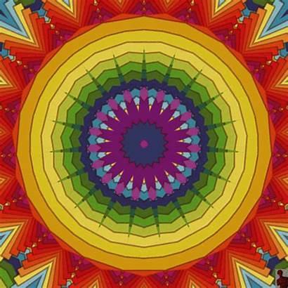 Rainbow Optical Gifs Illusions Mandala Happy Psychedelic