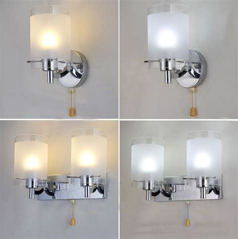 modern silver chrome white glass indoor wall light l lights fitting bedroom ebay