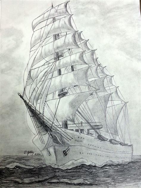 Sailing Ship Size 35x50 Cm Drawing Technique