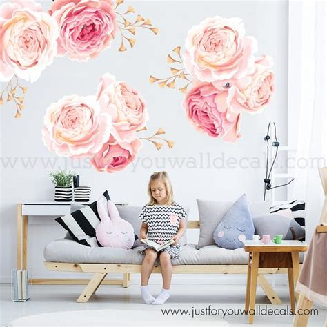 floral wall decal pink  gold flower wall decals roses wall decals removable wallpaper