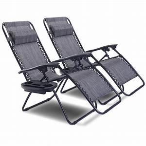 2pc, Folding, Zero, Gravity, Reclining, Lounge, Chairs, Beach, Patio, W, Utility, Tray
