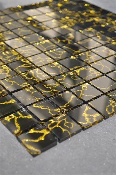 GALAXY BLACK & GOLD GLASS MOSAIC TILES MODEL NUMBER SO6
