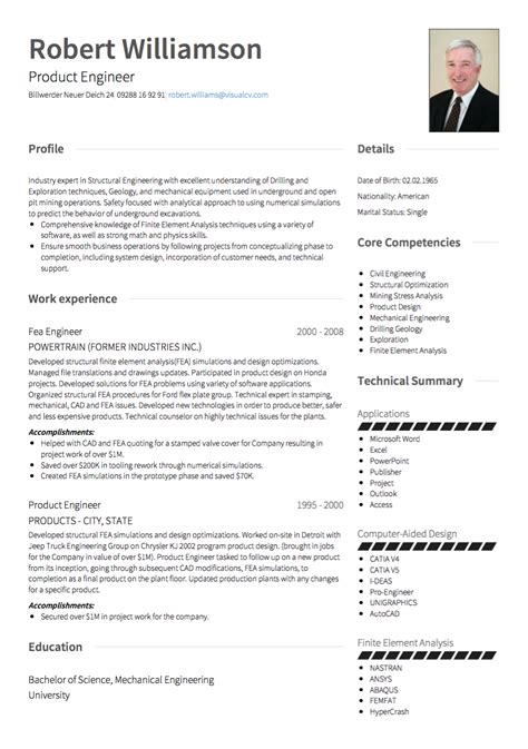 Cv Details Exle by German Cv Tips Requirements Exles Visualcv