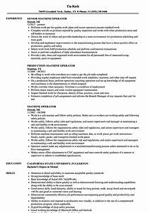 machine operator resume samples velvet jobs With sample resume for machine operator position