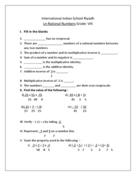 rational numbers grade 8 international indian school 8th grade worksheet lesson planet