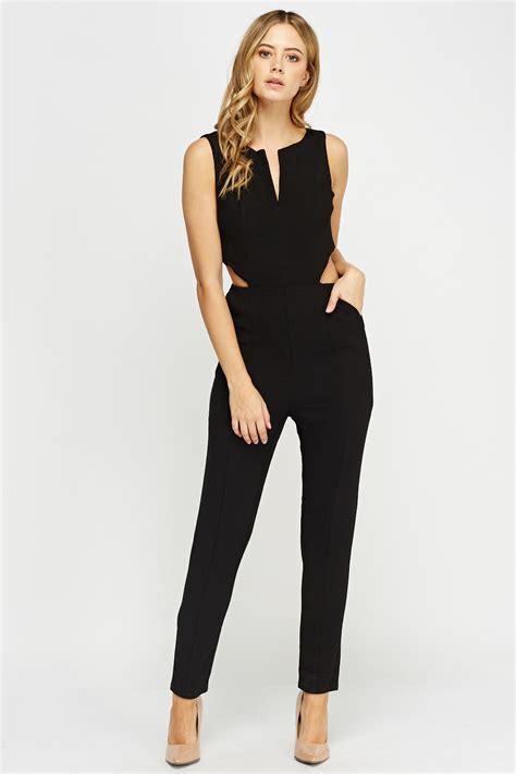 black s jumpsuit cut out side black jumpsuit just 5