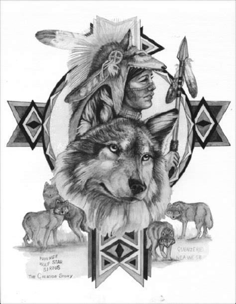 Native american tattoos – Wolf cycle of life awesome
