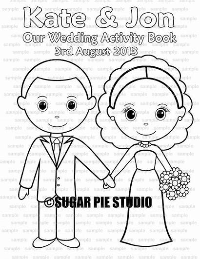 Groom Bride Printable Personalized Coloring Activity Party