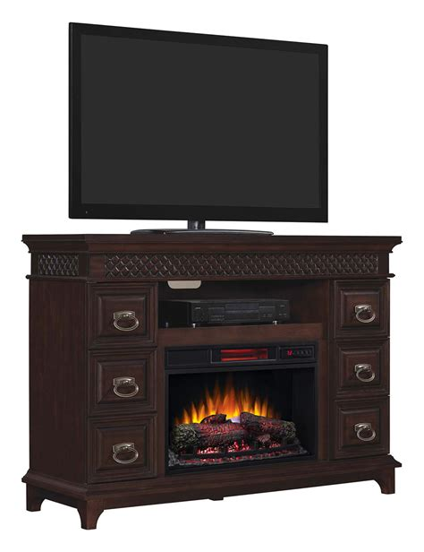 electric fireplace media console infrared electric fireplace media console in brown