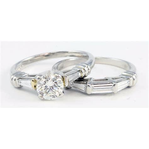 platinum scott kay round baguette diamond engagement ring