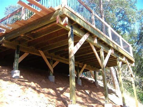 building  deck sloped backyard deck building plans