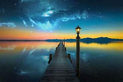 Space Water Lake Manipulation Bridge Nebula Evening