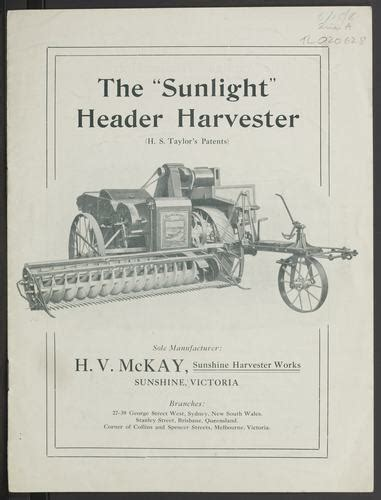 trade literature hv mckay sunshine header harvesters