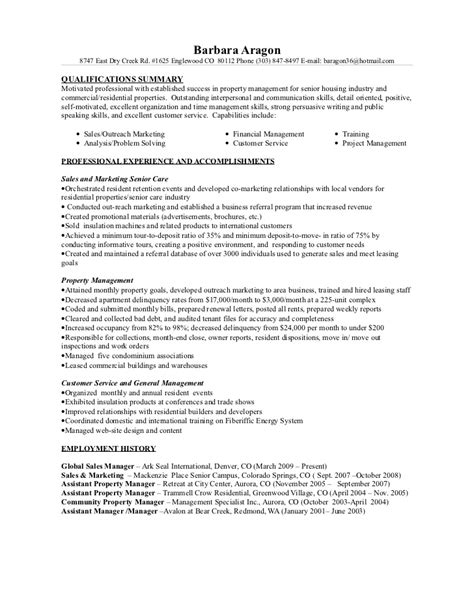 senior care property mgt resume