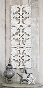 Wall, Art, Wood, Thin, Rectangle, Carved, Ornate, Filigree, Distressed, -, White