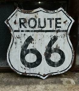 """Rustic """"Route 66"""" Sign, vintage-style wall decor"""