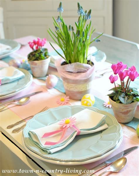 easter table settings sweet and simple easter table setting town country living