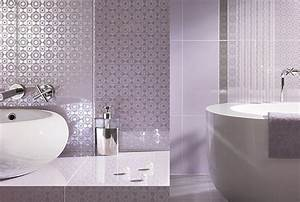 Detailed wall coverings in a lavender bathroom decoist