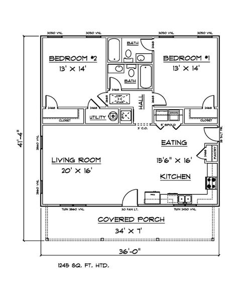 House Plans for 1245 Sq Ft 2 Bedroom 2 Bath House