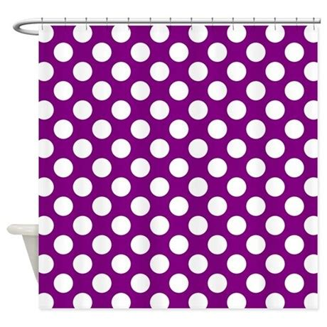 white polka dots on purple shower curtain by