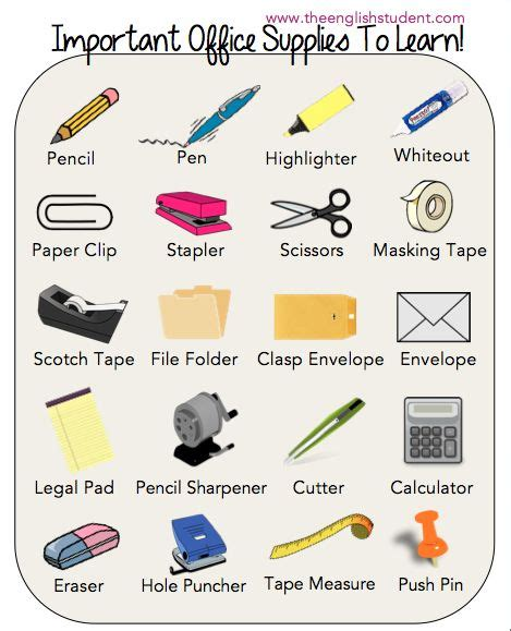 and equipment vocabulary with pictures lesson office supplies esl vocabularies esl vocabulary Office