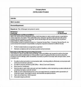 Sample job description template 9 free documents for Basic job description template
