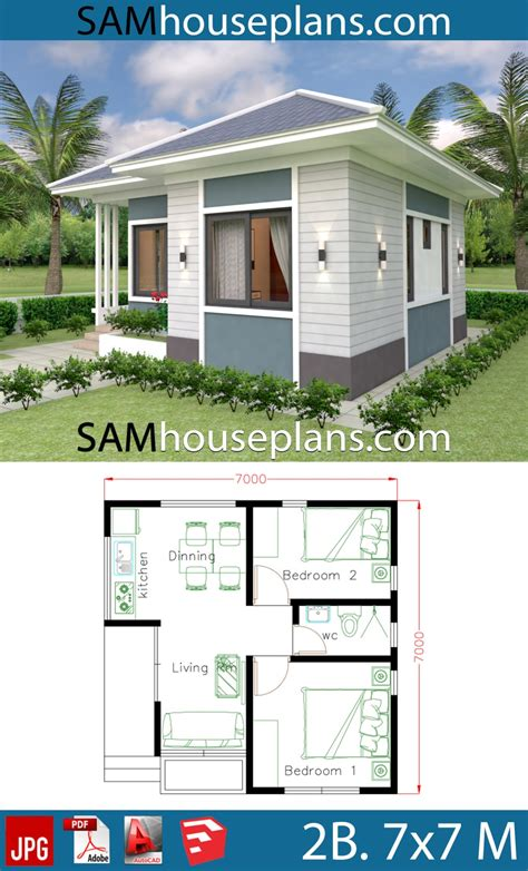 House Design Plans 7x7 with 2 Bedrooms House Plans 3d