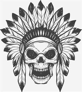 Vector Impresa En Serigrafía Indian Esqueleto, Vector, Pintado A Mano, Indian Esqueleto PNG y