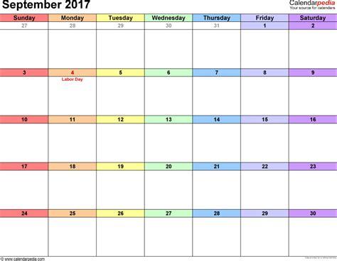 calendar template september 2017 september 2017 calendars for word excel pdf