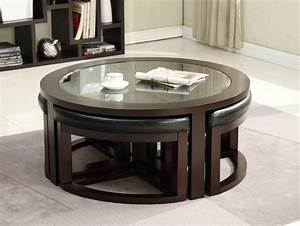 various ideas of the round glass coffee table for your With glass coffee table with stools underneath