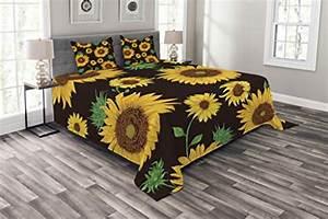 Lunarable Sunflower Bedspread  Earth Tones Floral Buds