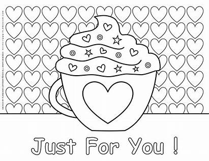 Coloring Valentines Pages Heart Printable Valentine Mug